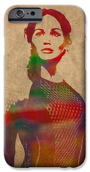 Hunger iPhone Cases - Katniss Everdeen from Hunger Games Jennifer Lawrence Watercolor Portrait on Worn Parchment iPhone Case by Design Turnpike