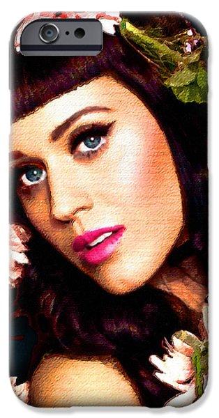 Katy Perry iPhone Cases - Katy Perry Acrylic On Canvas iPhone Case by Tony Rubino
