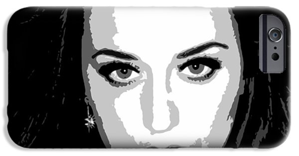 Katy Perry iPhone Cases - Katy Perry BW Warholesque iPhone Case by Anibal Diaz