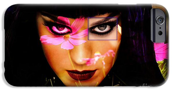 Katy Perry iPhone Cases - Katy Perry Flower iPhone Case by Marvin Blaine