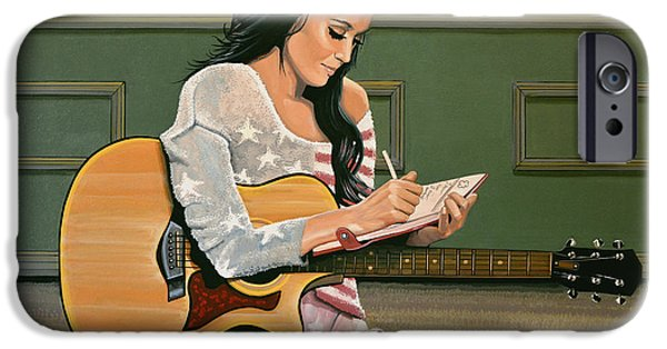 Katy Perry Paintings iPhone Cases - Katy Perry iPhone Case by Paul  Meijering