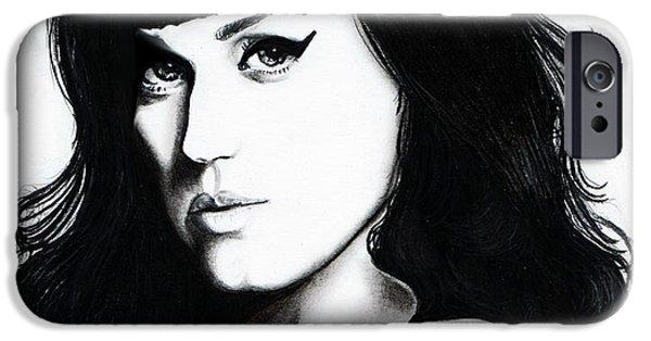 Katy Perry iPhone Cases - Katy Portrait iPhone Case by Elizabeth Moug