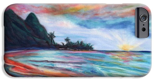Ocean Sunset Pastels iPhone Cases - Kauai Bali Hai Sunset iPhone Case by Marionette Taboniar