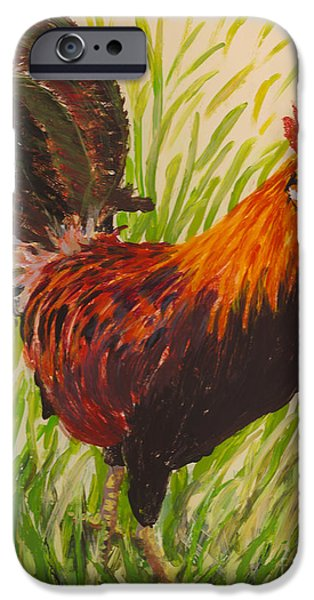 Fauna Glass Art iPhone Cases - Kauai Rooster iPhone Case by Anna Skaradzinska