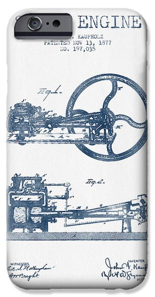 Steam Engine iPhone Cases - Kaufholz Steam Engine Patent Drawing From 1877- Blue Ink iPhone Case by Aged Pixel
