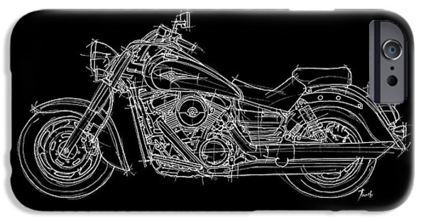 Bicycle Drawings iPhone Cases - Kawasaki Vulcan 1600 Classic 2006 iPhone Case by Pablo Franchi