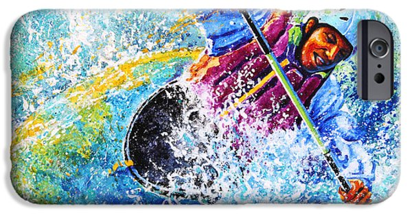 Canadian Sports Paintings iPhone Cases - Kayak Crush iPhone Case by Hanne Lore Koehler
