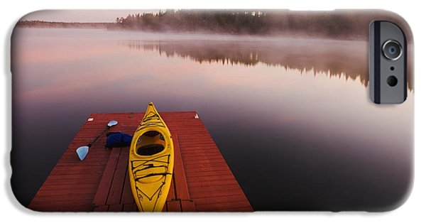 Dave iPhone Cases - Kayak On Dock In Northwestern Ontario iPhone Case by Dave Reede