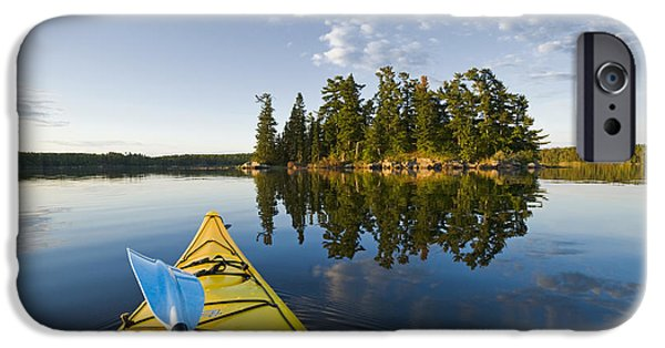 Dave iPhone Cases - Kayak On Lake In Northwestern Ontario iPhone Case by Dave Reede