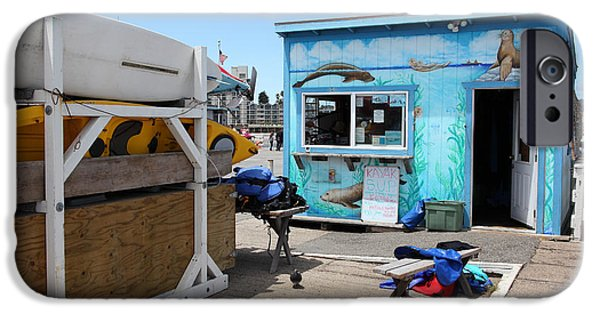 Santa Cruz Wharf iPhone Cases - Kayak Rentals On The Municipal Wharf At Santa Cruz Beach Boardwalk California 5D23787 iPhone Case by Wingsdomain Art and Photography
