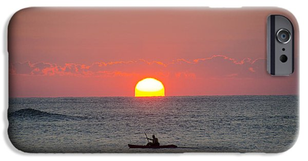 Recently Sold -  - Ocean Sunset iPhone Cases - Kayaker at Sunrise New Jersey iPhone Case by Bill Cannon