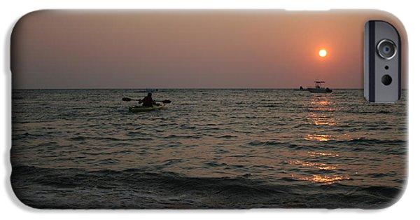 Chatham iPhone Cases - Kayaking at Sunset iPhone Case by John Turek