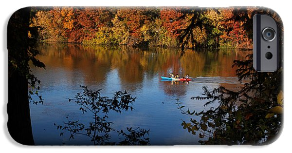Canoe iPhone Cases - Kayaking on the Colorado River iPhone Case by Judy Vincent