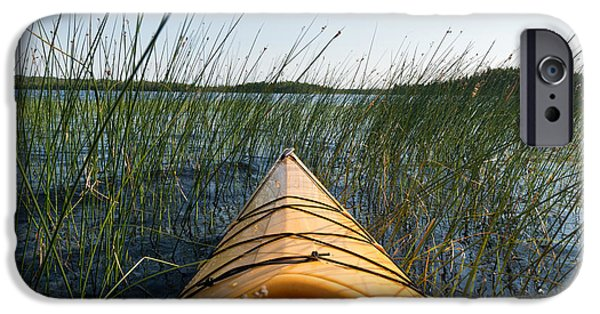 Kayak iPhone Cases - Kayaking Through Reeds BWCA iPhone Case by Steve Gadomski