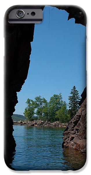 Sandra Updyke iPhone Cases - Kayaking through the arch iPhone Case by Sandra Updyke