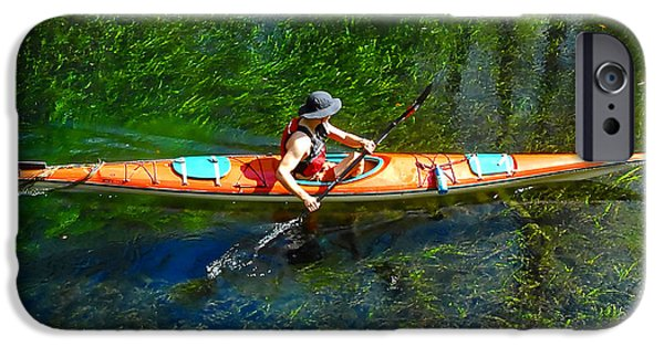 Kayak iPhone Cases - Kayaking work A iPhone Case by David Lee Thompson