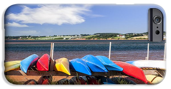Kayak iPhone Cases - Kayaks at Atlantic shore  iPhone Case by Elena Elisseeva
