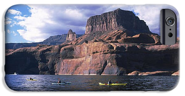 Lake Powell iPhone Cases - Kayaks In A Lake, Lake Powell, Page iPhone Case by Panoramic Images