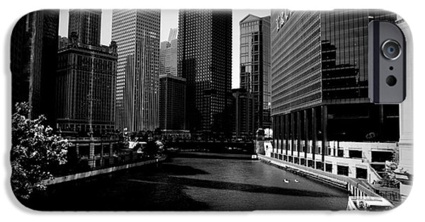 Wrigley iPhone Cases - Kayaks on the Chicago River - Black iPhone Case by Frank J Casella