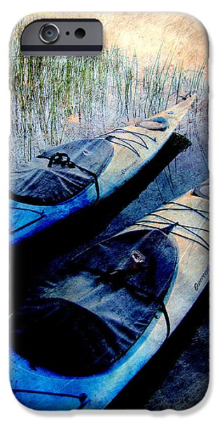 Kayak iPhone Cases - Kayaks Resting w metal iPhone Case by Anita Burgermeister