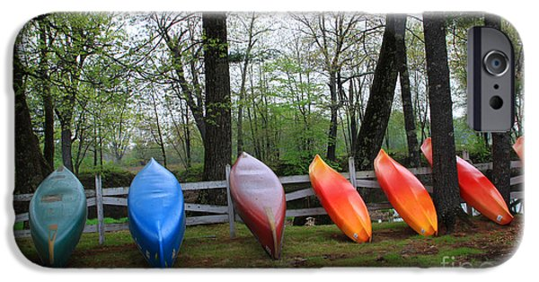 Winter In Maine iPhone Cases - Kayaks Waiting iPhone Case by Michael Mooney