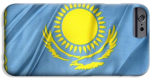 Patriotism iPhone Cases - Kazakhstan flag iPhone Case by Les Cunliffe