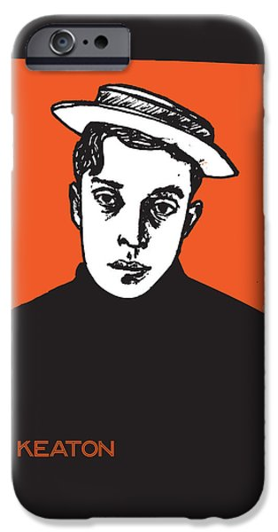 American ist Mixed Media iPhone Cases - 1920s Buster Keaton Portrait iPhone Case by Cecely Bloom