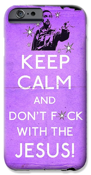 Jeff Bridges iPhone Cases - Keep Calm And dont fcuk with the Jesus iPhone Case by Filippo B