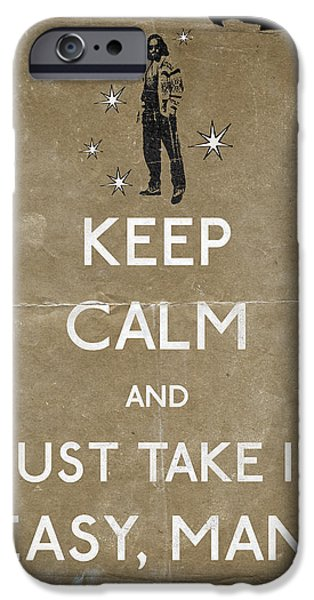 Jeff Bridges iPhone Cases - Keep calm and just take it easy man 14 iPhone Case by Filippo B
