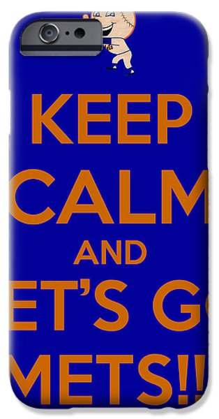 Cheer On iPhone Cases - Keep Calm and Lets Go Mets iPhone Case by James Kirkikis