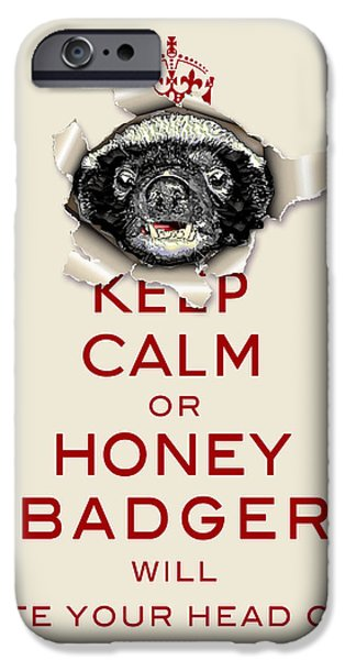 Spoof iPhone Cases - Keep Calm or Honey Badger... Red on Beige  iPhone Case by Serge Averbukh