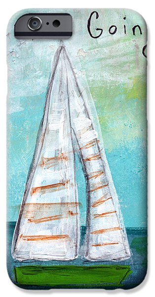 Pillow iPhone Cases - Keep Going- Sailboat Painting iPhone Case by Linda Woods