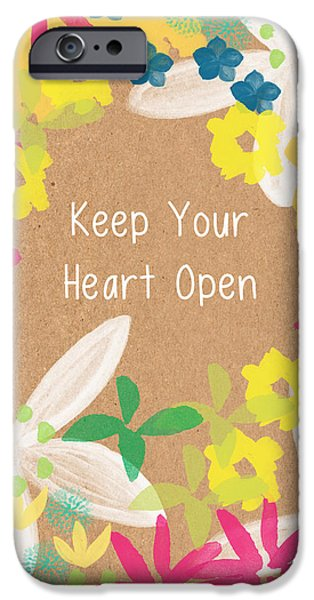 Summer Weddings iPhone Cases - Keep Your Heart Open iPhone Case by Linda Woods