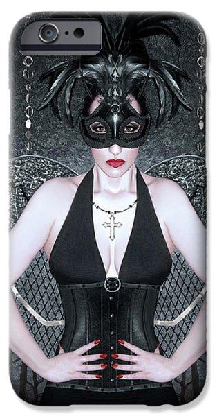 Night Angel iPhone Cases - Keeper of the Night - Self Portrait iPhone Case by Jaeda DeWalt