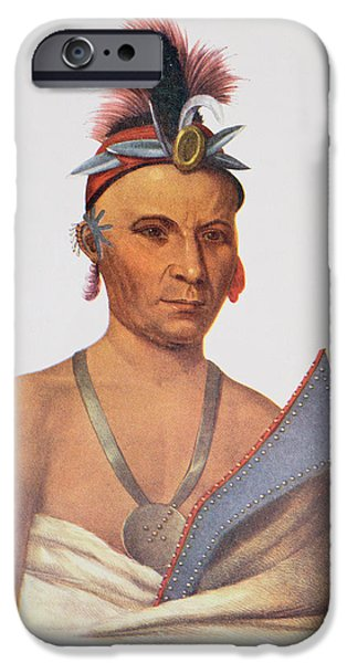 Medicine iPhone Cases - Keesheswa Or The Sun, A Fox Chief, C.1837, Illustration From The Indian Tribes Of North America iPhone Case by Charles Bird King