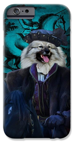 Loup iPhone Cases - Keeshond - Wolfspitz Art Canvas Print iPhone Case by Sandra Sij