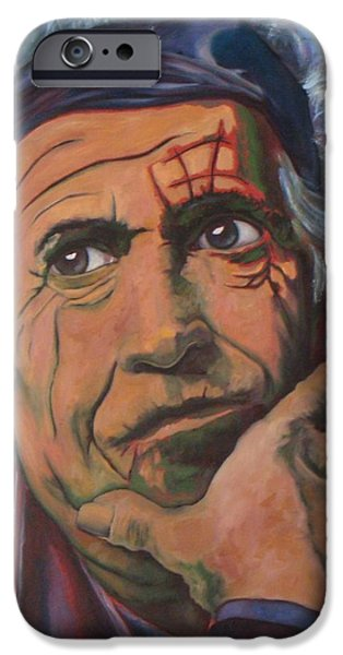 Keith Richards iPhone Cases - Keith iPhone Case by Christina Clare