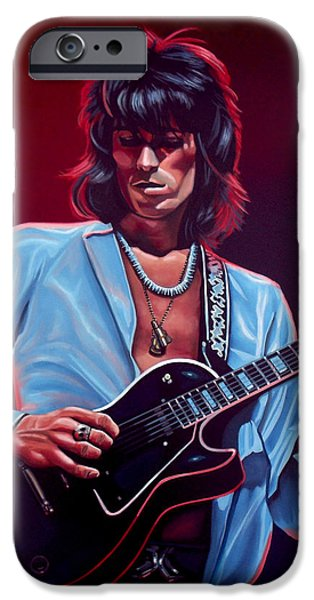 Idol Paintings iPhone Cases - Keith Richards 2 iPhone Case by Paul Meijering