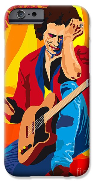 Keith Richards iPhone Cases - KEITH RICHARDS ITS ONLY ROCK n ROLL iPhone Case by Neil Finnemore