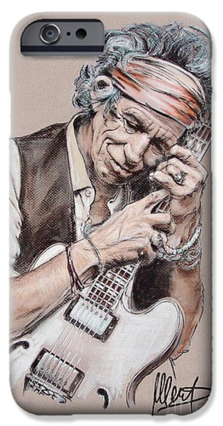 Music Pastels iPhone Cases - Keith Richards iPhone Case by Melanie D