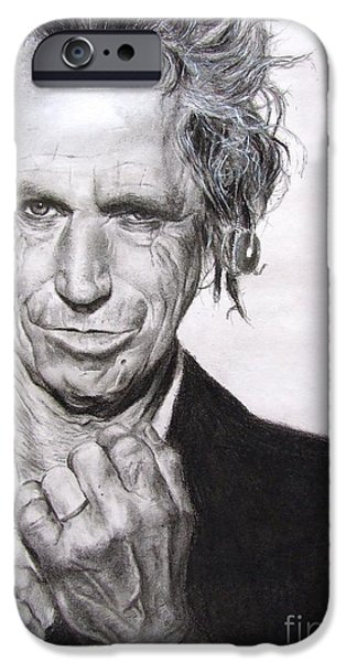 Graphite Drawing Pastels iPhone Cases - Keith Richards iPhone Case by Natalia Chaplin