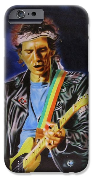 Charlie Watts iPhone Cases - Keith Richards of Rolling Stones iPhone Case by Thomas J Herring