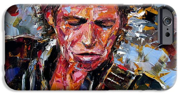 Mick Jagger Paintings iPhone Cases - Keith Richards portrait iPhone Case by Debra Hurd