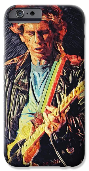 The Epiphone Les Paul Guitars iPhone Cases - Keith Richards iPhone Case by Taylan Soyturk