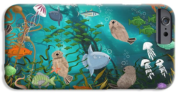 Otter Digital Art iPhone Cases - Kelp Forest Frolic iPhone Case by Merry  Kohn Buvia