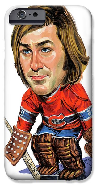 Hockey Paintings iPhone Cases - Ken Dryden iPhone Case by Art