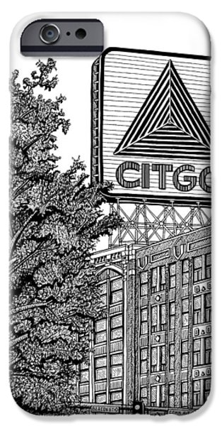 Fenway Park Drawings iPhone Cases - Kenmore Square Citgo Sign iPhone Case by Conor Plunkett