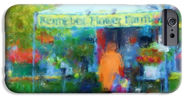 Maine Farms Paintings iPhone Cases - Kennebec Flower Farm 1032 20140926 iPhone Case by Julie Knapp