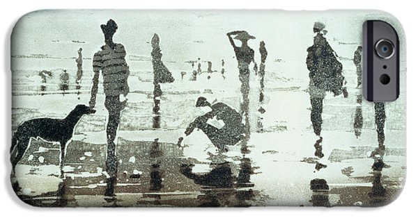 Greyhound Photographs iPhone Cases - Kenneggy, Cornwall, 1988 Colour Aquatint iPhone Case by Lucy Willis