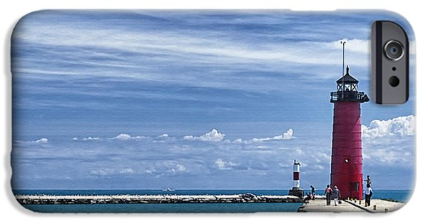 Chicago iPhone Cases - Kenosha North Pier Lighthouse iPhone Case by Joan Carroll
